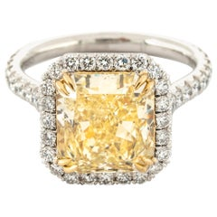 "4.68 Carat Fancy Yellow ""GIA"" Radiant Cut Diamond Ring by the Diamond Oak"