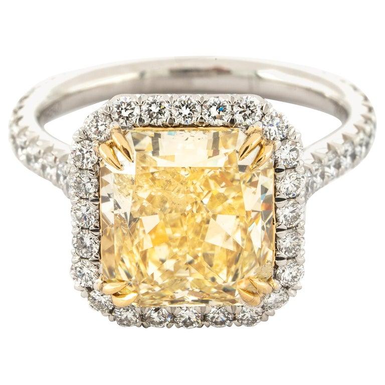 "4.68 Carat Fancy Yellow ""GIA"" Radiant Cut Diamond Ring by the Diamond Oak For Sale"