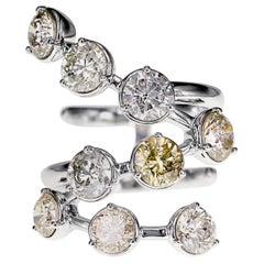 4.68 Carat Natural Fancy Color Diamond Snake Ring