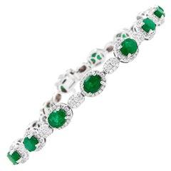 4.68 Carat Oval Emerald and Diamond Bracelet
