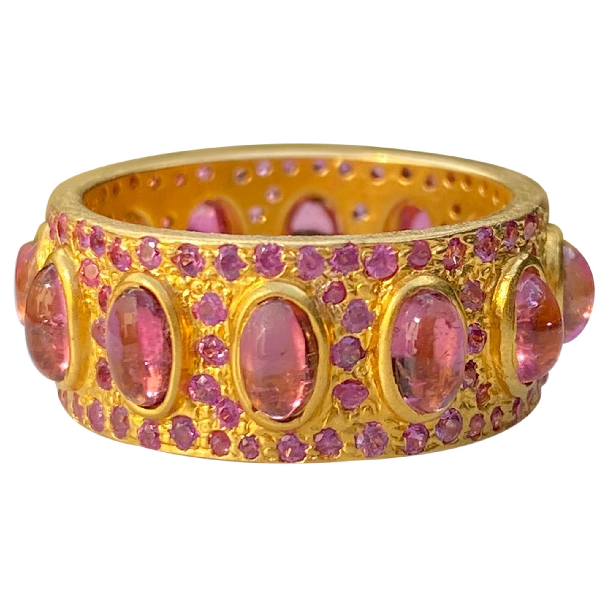 4.68 Carat Pink Tourmaline Gold Eternity Ring by Lauren Harper