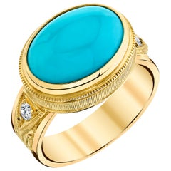 4.68 ct. Sleeping Beauty Turquoise Cabochon & Diamond 18k Yellow Gold Dome Ring