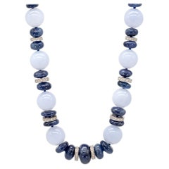 468.25 Carat Chalcedony, Blue Sapphire, and 18 Karat WG Diamond Roundel Necklace