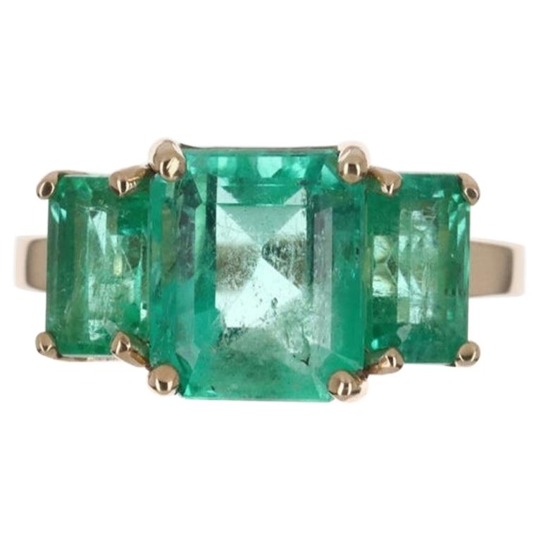 4.68tcw 14K Three Stone Colombian Emerald Cut Engagement Ring