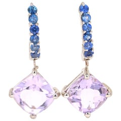4.69 Carat Amethyst Sapphire 14 Karat White Gold Drop Earrings