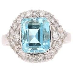 4.69 Carat Aquamarine Diamond 14 Karat White Gold Cocktail Ring