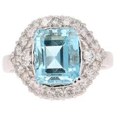 4.69 Carat Aquamarine Diamond White Gold Ring
