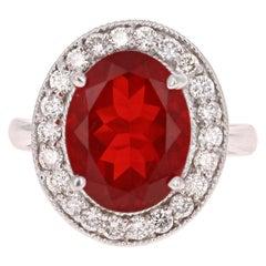 4.69 Carat Fire Opal Diamond 14 Karat White Gold Ring