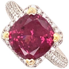 4.69 Carat Spinel and Diamond Gold Ring