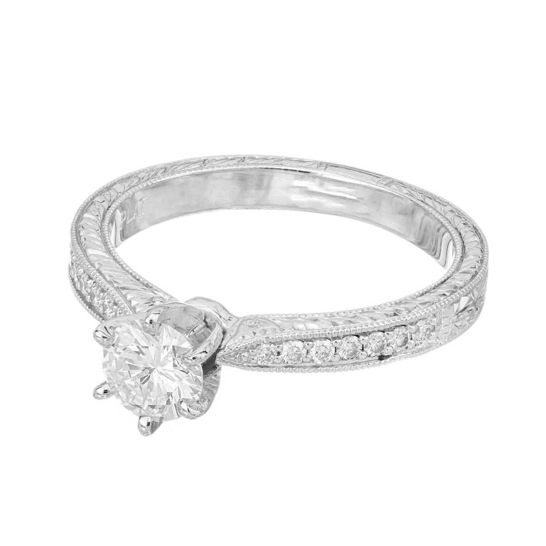 .46ct Diamond Platinum Hand Engraved Pave Set Engagement Ring In Excellent Condition For Sale In Stamford, CT