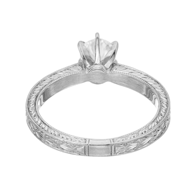 .46ct Diamond Platinum Hand Engraved Pave Set Engagement Ring For Sale 1