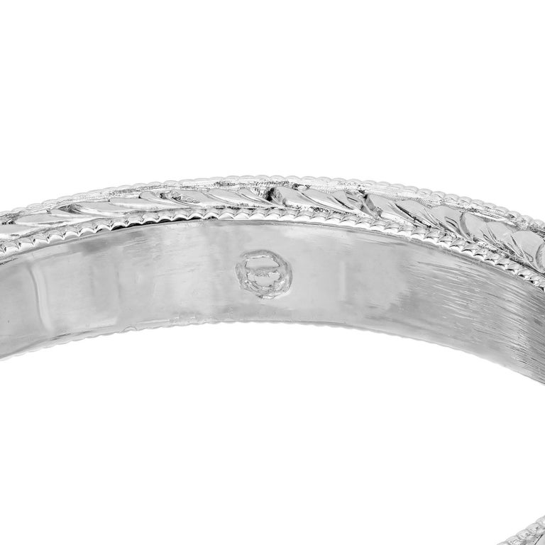 .46ct Diamond Platinum Hand Engraved Pave Set Engagement Ring For Sale 4