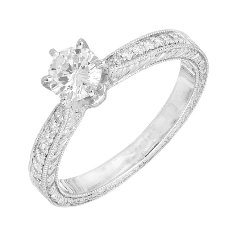 .46ct Diamond Platinum Hand Engraved Pave Set Engagement Ring For Sale