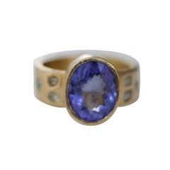 4.6Ct Tanzanite Solitaire Yellow Diamonds Handmade 22K Gold Bridal Ring