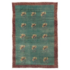 One-of-a-Kind Decorative Handmade Floral Rug in Green and Maroon Color