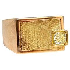 .47 Carat Natural Fancy Yellow Princess Cut Diamond Men's Ring 14 Karat