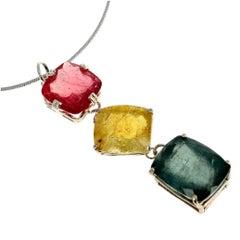 47 Carat of Peachy Pink, Yellow, Bluegreen Tourmaline Sterling Silver Pendant