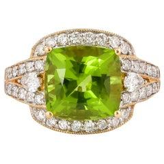 4.7 Carat Peridot and Diamond Ring in 18 Karat Yellow Gold