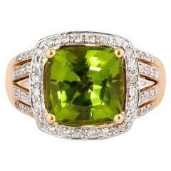 4.7 Carat Peridot with Diamond Ring in 18 Karat Yellow Gold