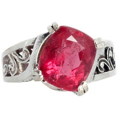 4.7 Carat PinkyRed Tourmaline Sterling Silver Ring