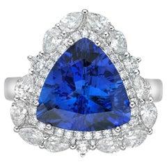 4.7 Carat Tanzanite and White Diamond Ring in 18 Karat White Gold
