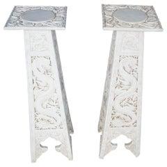 Pair of Oriental Chalkware Dragon Pedestals Column Plant Stand Anne Jo 1986