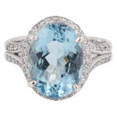 4.70 Carat Aquamarine Diamonds 18 Karat White Gold Ring