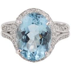4.70 Carat Aquamarine Diamonds 18 Karat White Gold Ring