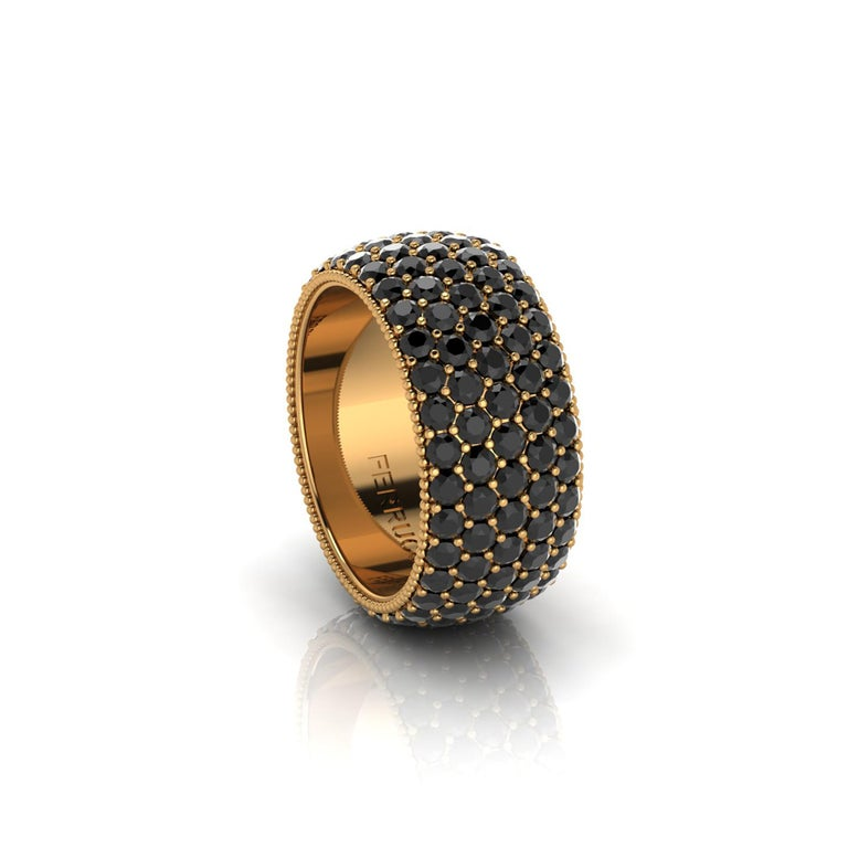Wide diamond pave' ring, with a slightly dome feeling, a wrap of sparkling  black diamonds, for an approximate total carat weight of 4.70 carats, hand made in New York City by hand by  Italian master jeweler, conceived in 18k yellow gold   This is a
