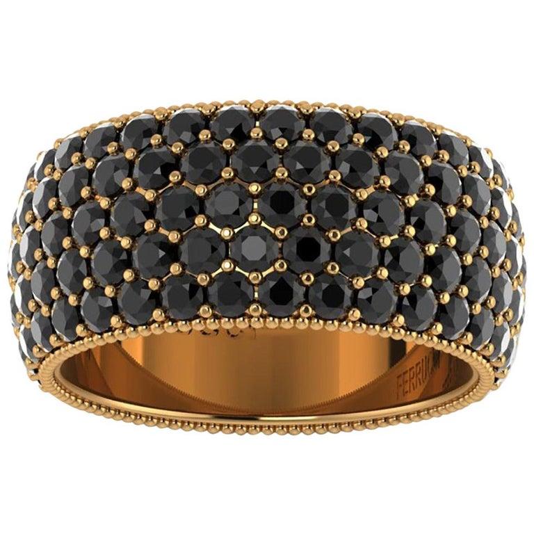 4.70 Carat Black Diamonds 18 Karat Yellow Gold For Sale