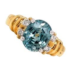 4.70 Carat Blue Zircon and Diamond Gold Ring