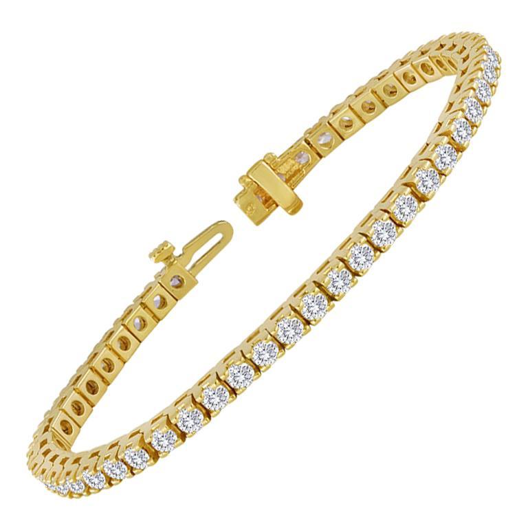 4.70 Carat Diamond Yellow Gold Tennis Bracelet For Sale