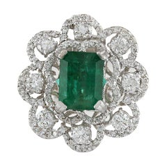 4.70 Carat Emerald 18 Karat White Gold Diamond Ring