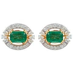 4.70 Carat Emerald Diamond 18 Karat Gold Stud Earrings