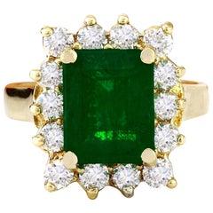 4.70 Carat Natural Emerald 18 Karat Solid Yellow Gold Diamond Ring