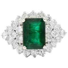 4.70 Carat Natural Emerald and Diamond 14 Karat Solid White Gold Ring