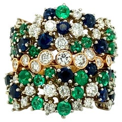 4.70 Carat Sapphire Emerald & Diamonds Cocktail Ring, 18kt