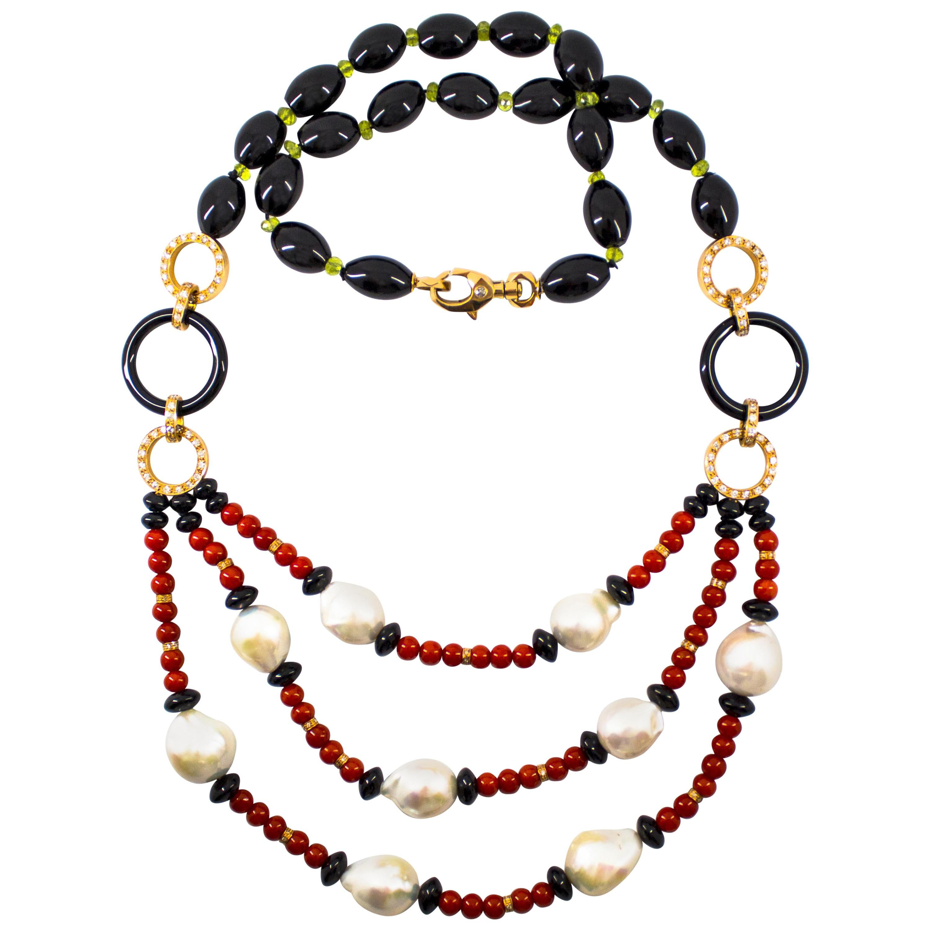 4.70 Carat White Diamond Peridot Red Coral Onyx Pearl Yellow Gold Drop Necklace