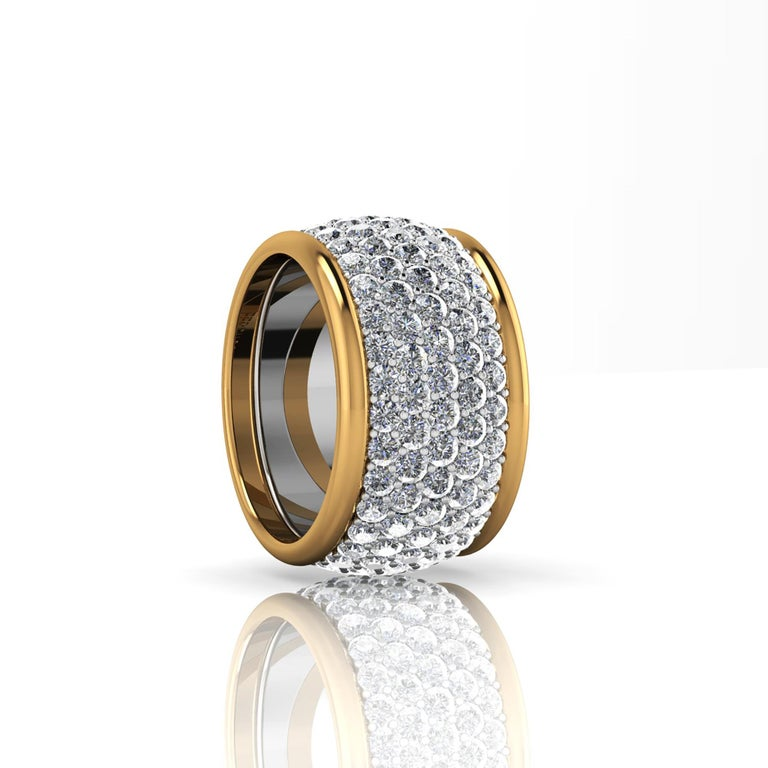 Modern 4.70 Carat White Diamond Wide White and Yellow 18 Karat Gold Ring Band For Sale
