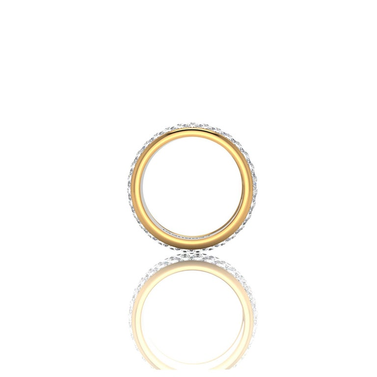 Round Cut 4.70 Carat White Diamond Wide White and Yellow 18 Karat Gold Ring Band For Sale