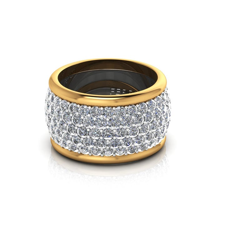 4.70 Carat White Diamond Wide White and Yellow 18 Karat Gold Ring Band In New Condition For Sale In Lake Peekskill, NY