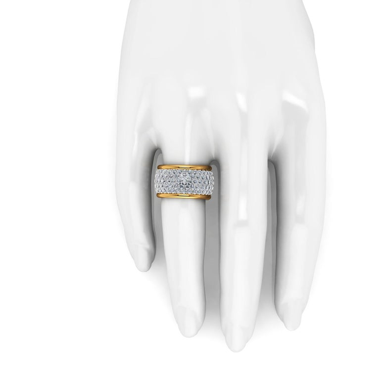 Women's 4.70 Carat White Diamond Wide White and Yellow 18 Karat Gold Ring Band For Sale