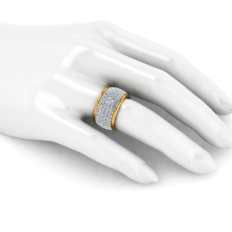 4.70 Carat White Diamond Wide White and Yellow 18 Karat Gold Ring Band For Sale 1