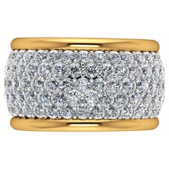 4.70 Carat White Diamond Wide White and Yellow 18 Karat Gold Ring Band