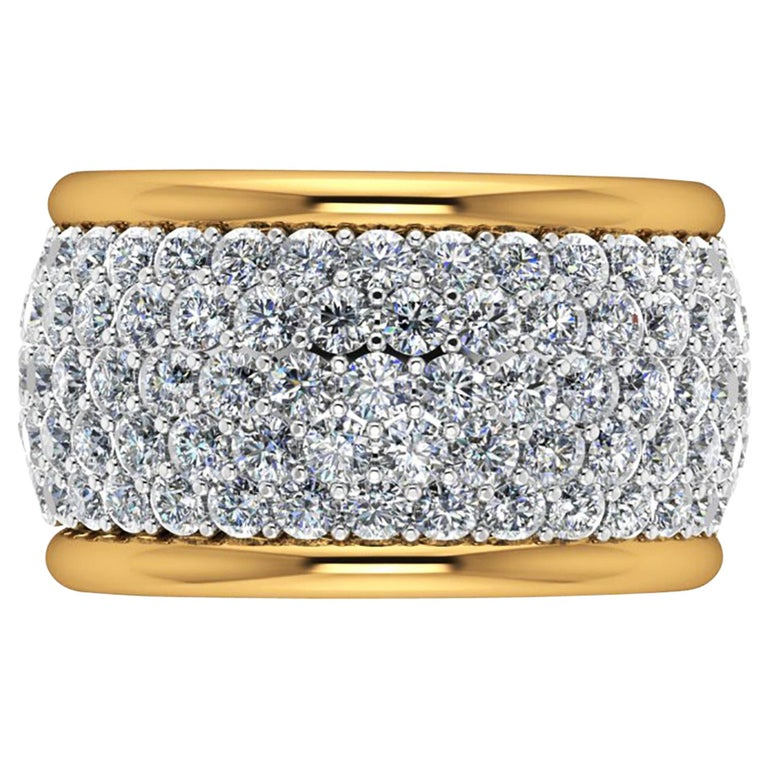 4.70 Carat White Diamond Wide White and Yellow 18 Karat Gold Ring Band For Sale