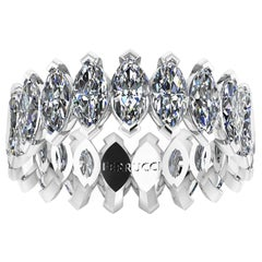 4.70 Carat White Marquise Diamonds Eternity Band 18 Karat White Gold