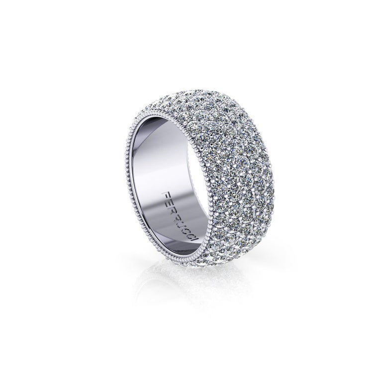 FERRUCCI Wide diamond pave' ring, with a slightly dome feeling, a wrap of sparkling white diamonds, G color clarity, VS/SI1 +++ for an approximate total carat weight of 4.70 carats, hand made in New York City by hand by  Italian master jeweler,