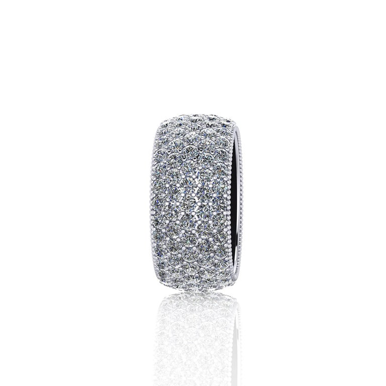 Modern 4.70 Carat Wide White Diamond Pavé Ring in 18 Karat White Gold For Sale