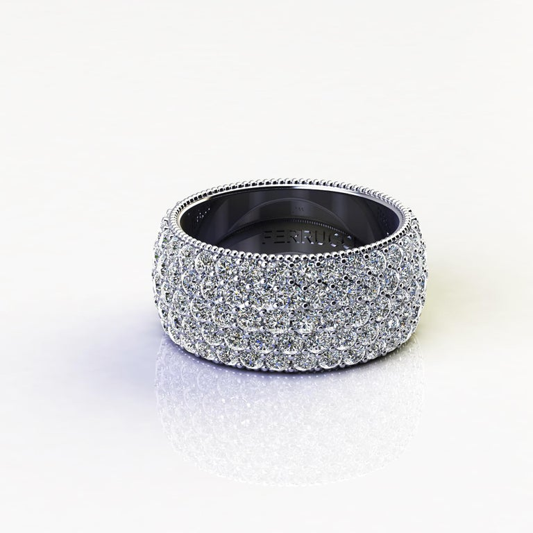 4.70 Carat Wide White Diamond Pavé Ring in 18 Karat White Gold In New Condition For Sale In Lake Peekskill, NY