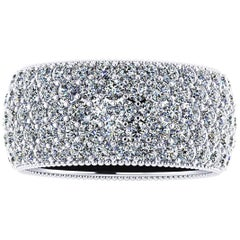 4.70 Carat Wide White Diamond Pavé Ring in 18 Karat White Gold